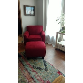 Handy Living Park Avenue Crimson Red Hand-tied Chair and Ottoman