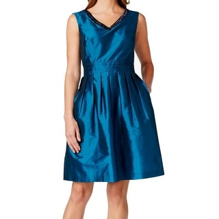 Ellen Tracy NEW Blue Women's Size 16 Pleated Embellished V-Neck Dress