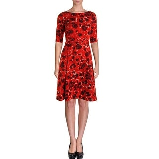 Anne Klein Womens Printed Pleated Wear to Work Dress