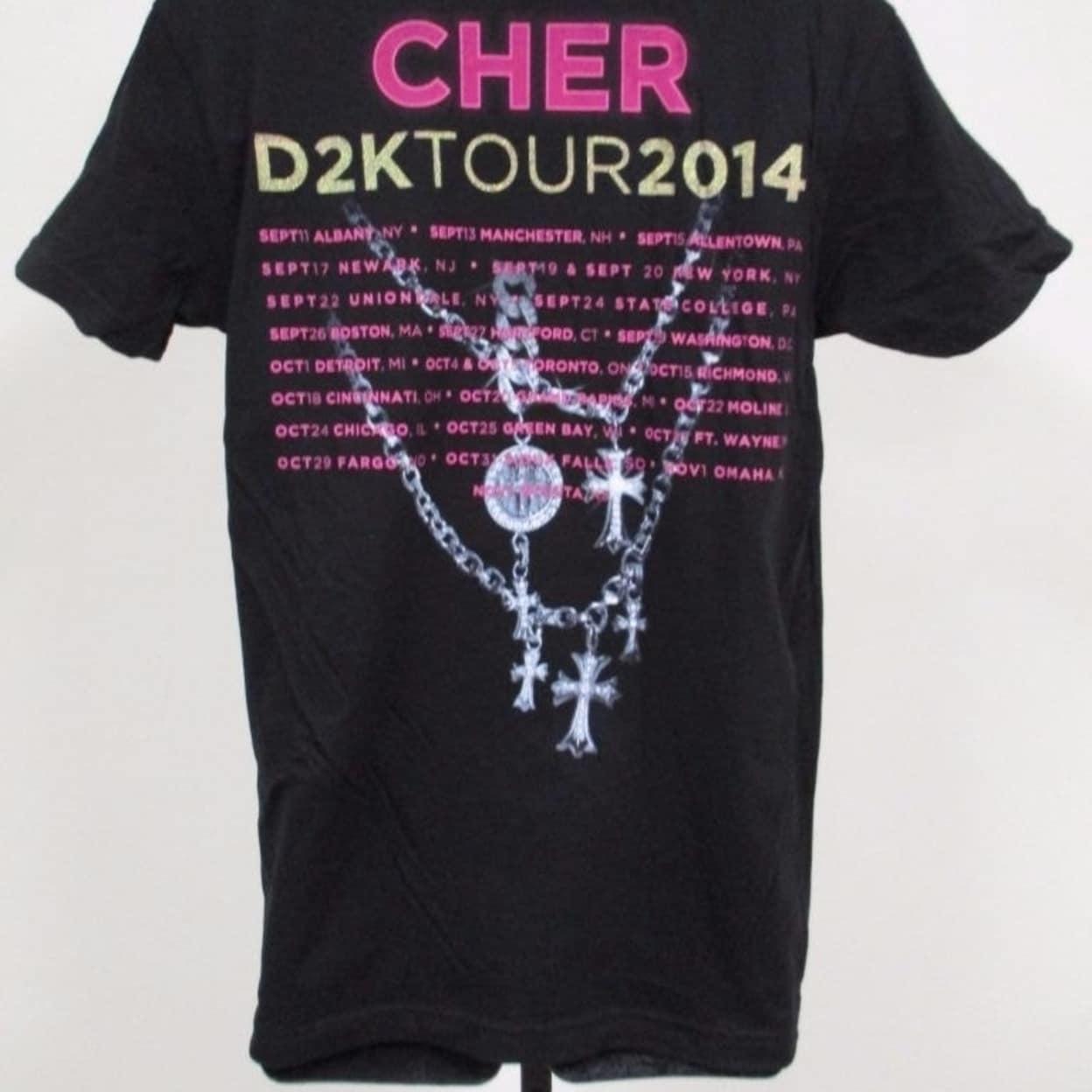 """New CHER /""""D2K TOUR 2014/"""" Mens Adult Sizes S-M-L-XL-2XL Band Concert Shirt"""