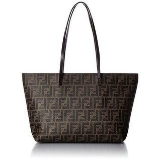FENDI Zucca Pattern Canvas And Leather Brown Tote Bag - Brown/Beige - 10.6x18x5.5