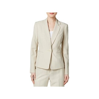 Le Suit Womens French Riviera One-Button Blazer Woven Pinstripe