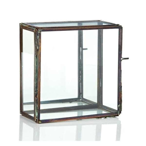 6 25 Table Top Rectangular Glass Terrarium With Mirror And Hinged Door Clear