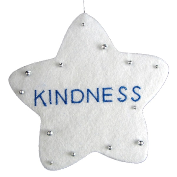 "5"" White Word Star ""Kindness"" Christmas Ornament"
