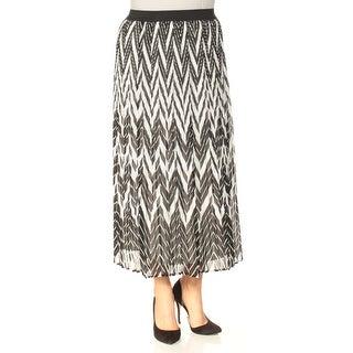 Womens Black Printed Tea-Length Pleated Skirt Size L