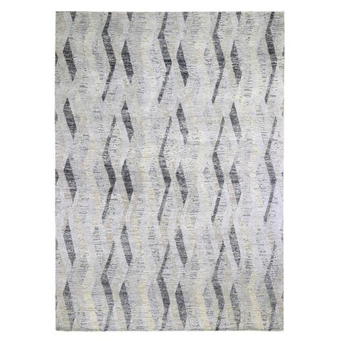 """Shahbanu Rugs DIMENSIONAL CURTAINS Gray Silk With Textured Wool Hand Knotted Rug (10'0"""" x 14'0"""") - 10'0"""" x 14'0"""""""