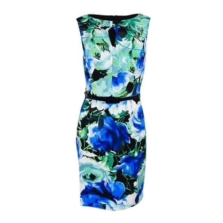 Connected Apparel Women's  Belted Sleeveless Floral-Print Sheath Dress - ROYAL