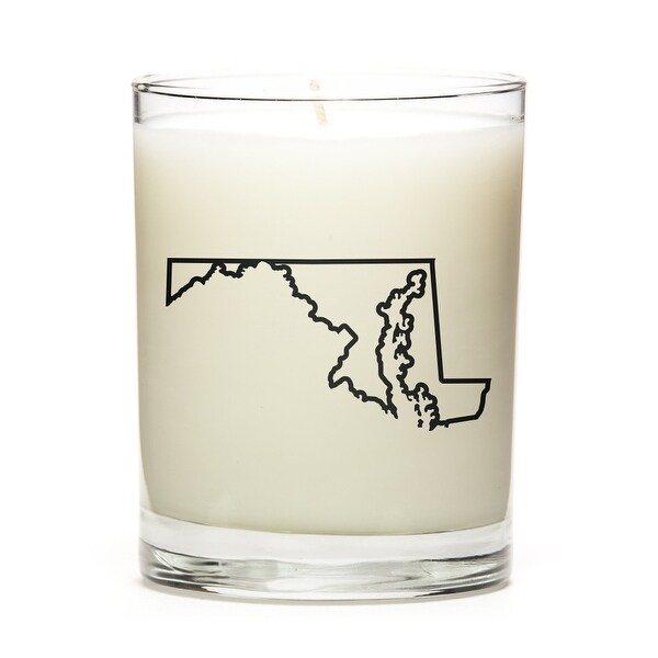 State Outline Candle, Premium Soy Wax, Maryland, Peach Belini
