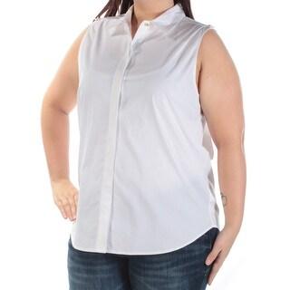 MICHAEL KORS $88 Womens New 1310 White Collared Sleeveless Button Up Top XL B+B