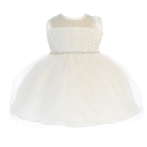 Baby Girls White Illusion Corded Lace Tulle Overlay Flower Girl Dress