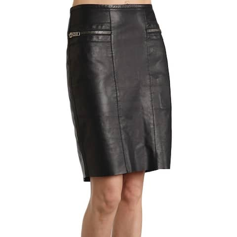 Stetson Western Skirt Womens Lamb Skin Slit Black - XL