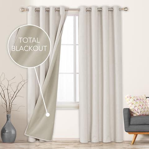 Deconovo Faux Linen Total Blackout Grommet Curtain Panel Pair