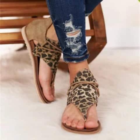 Leopard Print Plus Size Sandals Women Word Flat Sandals