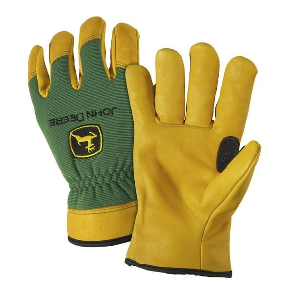 West Chester John Deere Unisex Deerskin Leather Work Gloves Green/Yellow XL 1 pair