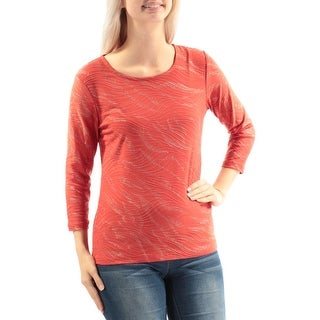 Womens Orange Gold 3/4 Sleeve Scoop Neck Casual Top Size S