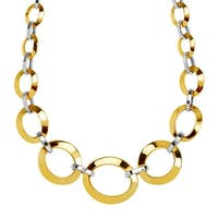 """Eternity Gold Graduated Oval Link Chain Necklace in 14K Two-Tone Gold, 18"""""""