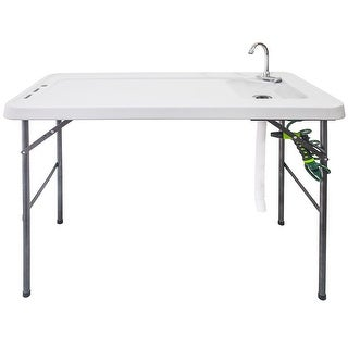Costway Folding Fish Table Hunting Cleaning Cutting Camping Sink Faucet w Sprayer