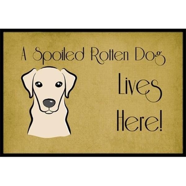 Carolines Treasures BB1470MAT Yellow Labrador Spoiled Dog Lives Here Indoor & Outdoor Mat 18 x 27 in.