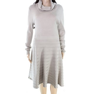 Calvin Klein NEW Beige Women's Size XL Turtleneck Flare Sweater Dress