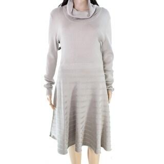Calvin Klein NEW Beige Women's Small S Turtleneck Flare Sweater Dress