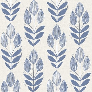 Brewster 2535-20652 Scandinavian Blue Block Print Tulip Wallpaper
