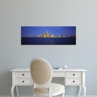 Easy Art Prints Panoramic Images's 'Buildings at waterfront, Detroit, Michigan, USA' Premium Canvas Art