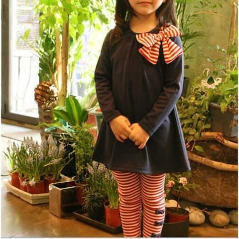Hot Children Sets For Girls Pink Blue Long Sleeves Baby Girl Sets Casual High Quality Cotton Top Striped and Bow Decor Wholesale