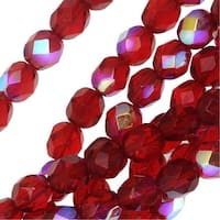 Czech Fire Polished Glass Beads 6mm Round Ruby Red AB (25)