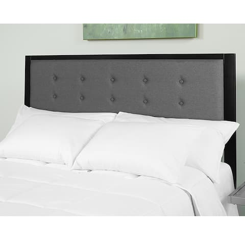 Lawrence Modern Dark Grey Fabric Button Tufted Upholstered Queen Size Metal Headboard