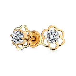 Bling Jewelry 14k Gold CZ Safety Screw back Kids Flower Studs