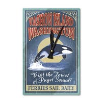 Vashon Island WA - Orca Whale Sign - LP Artwork (Acrylic Wall Clock) - acrylic wall clock