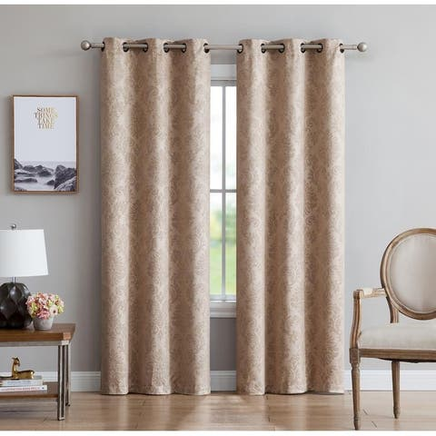 Gracewood Hollow Plakalo Embossed Thermal-weaved Blackout Grommet Drapery Curtains