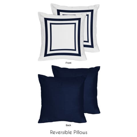 Sweet Jojo Designs Anchors Away Collection Navy White 18-inch Throw Pillow (Set of 2)