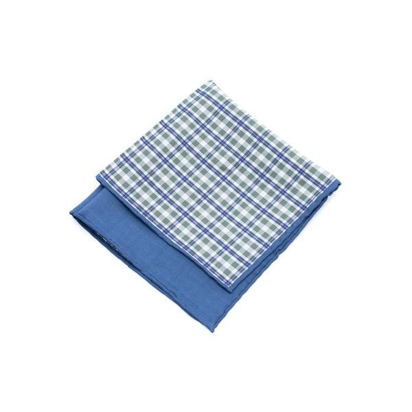 Brunello Cucinelli Men Green Blue Plaid Silk Blend Pocket Square