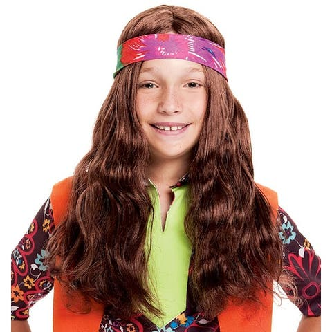 Long Hippie Child Costume Wig - Brown