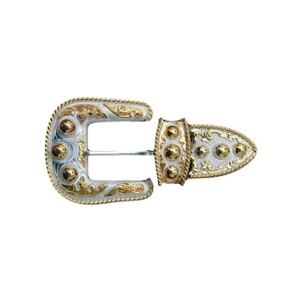 Silver Strike Western Belt Buckle 3 Piece Set Beads Silver Gold - One size