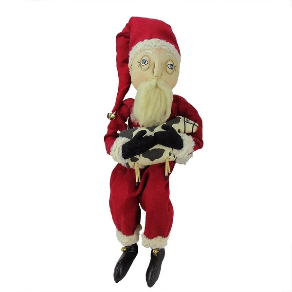 """30"""" Plush Wilbur in a Santa Costume and Holding a Cow Decorative Christmas Display Figure - WHITE"""
