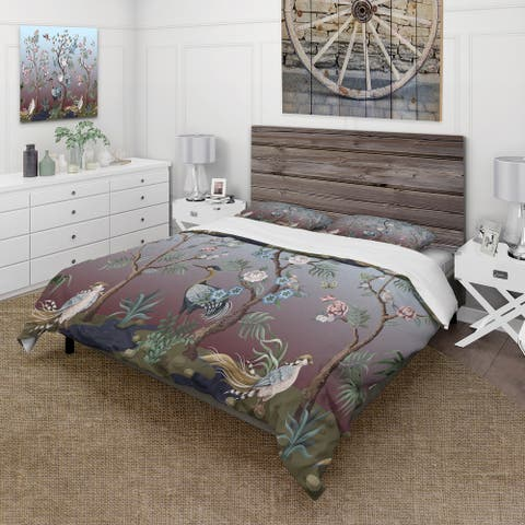 Designart 'Chinoiserie With Birds and Peonies XI' Traditional Duvet Cover Set