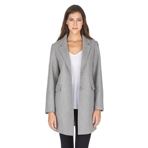 Haute Edition Women's Single Breasted Wool Blend Peacoat Winter Jacket