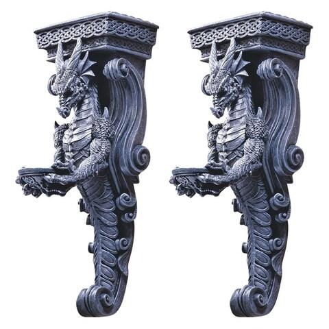 Design Toscano Dragons of Darkmoor Castle Wall Caryatids: Set of Two