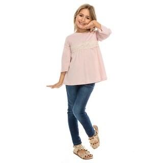 Aaron & Amber Girls Dusty Pink Crochet Lace Trim Long Sleeved Shirt
