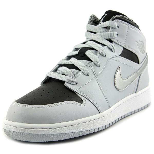 Jordan Air Jordan 1 Mid Youth Round Toe Leather Gray Basketball Shoe