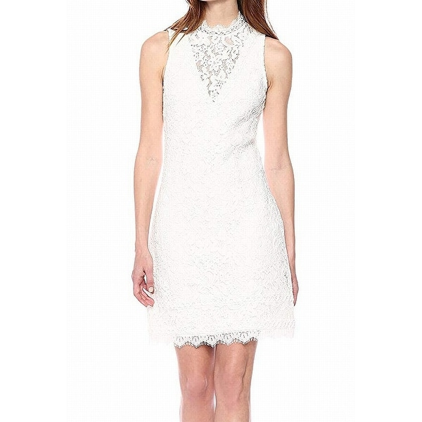 74991f7a4d7 Shop Kensie White Womens Size 14 Mock-Neck Illusion Lace Shift Dress - On  Sale - Free Shipping On Orders Over $45 - Overstock - 27369810