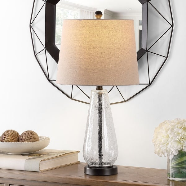"""Safavieh Lighting 25.5-inch Naila Glass Table Lamp - 13"""" x 13"""" x 25.5"""". Opens flyout."""
