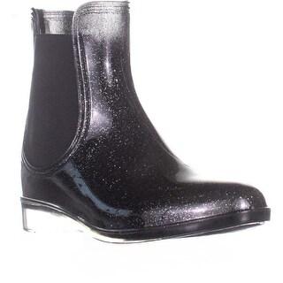 I35 Raelynn Short Rainboots, Black Glitter - 6 US