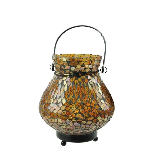 "6.5"" Decorative Amber Mosaic Lota Glass Summer Tea Light Candle Holder Lantern"