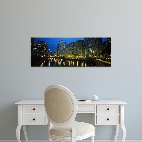 Easy Art Prints Panoramic Images's 'View of buildings lit up at night, Chicago River, Chicago, Illinois' Canvas Art