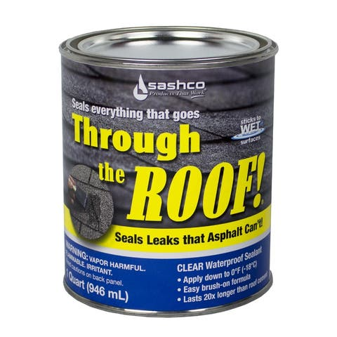 Sashco 14003 Through the Roof! Elastomeric Roof Sealant, 1 Qt, Clear