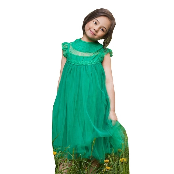 542645962146 Shop Little Girls Green Lace Tulle Smock T-Length Magnolia Christmas ...