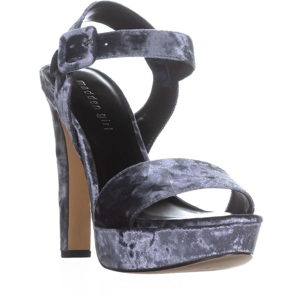 madden girl Rollo Heeled Sandals, Gray Velvet